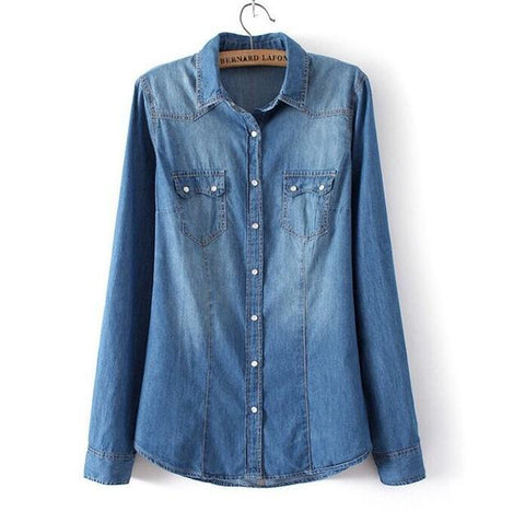 Long Sleeve Snap Button Denim Shirt - Cowgirl Vibes