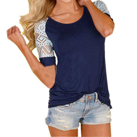 Hollow Lace Stitched Short Sleeve Shirt - Cowgirl Vibes