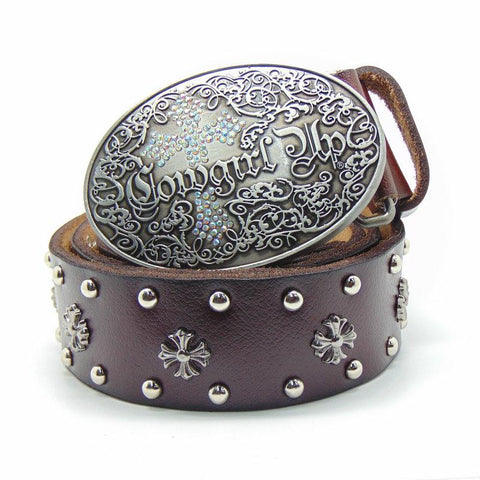 "Western ""Cowgirl Up"" Genuine Leather Belt - Cowgirl Vibes"