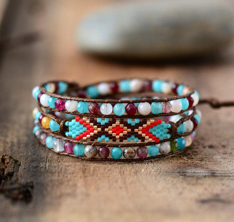 Colorful Seed Beads and Natural Stones Wrap Bracelet - Cowgirl Vibes