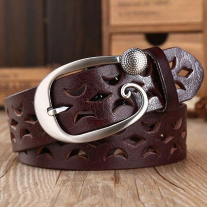 Western Hollow Cut Genuine Leather Belt - Cowgirl Vibes