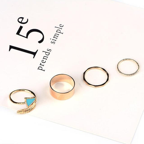4pcs Set Leaf & Arrow Rings (Gold or Silver) - Cowgirl Vibes