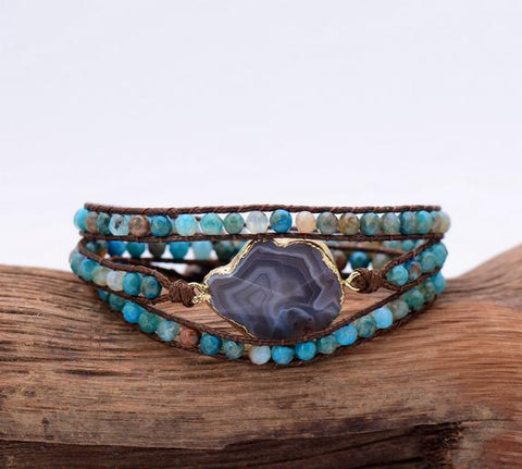 Beaded Wrap Bracelet With Unique Onyx Charm - Cowgirl Vibes