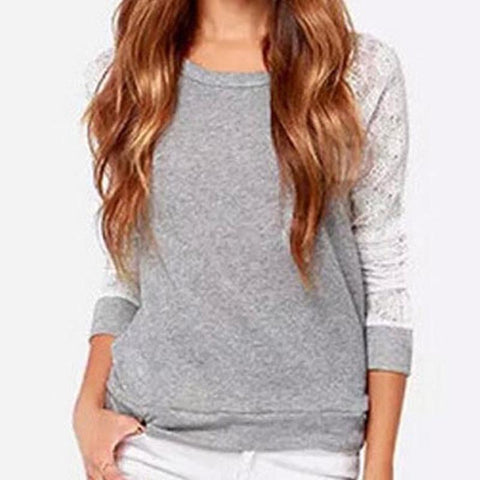 Grey Long Sleeve Top With Lace Patchwork - Cowgirl Vibes