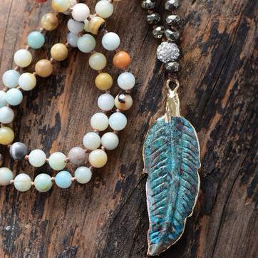 Ocean Stone Feather Pendant Handmade Necklace - Cowgirl Vibes