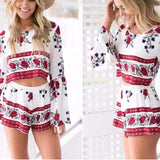 Floral Print Backless Flared Sleeve Two Pieces Romper - Cowgirl Vibes