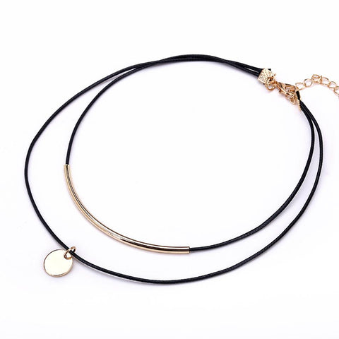 Cowgirl Circle Pendant Leather Choker - Cowgirl Vibes