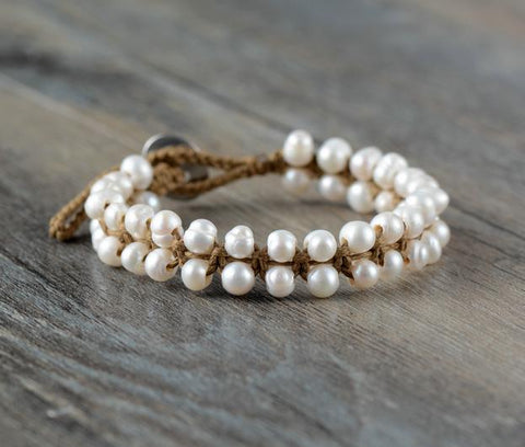 Handmade Freshwater Pearls Knotted Bracelet - Cowgirl Vibes