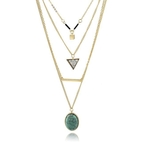 Triangle Multi-layer Gold Necklace (Green or Pink Stone) - Cowgirl Vibes