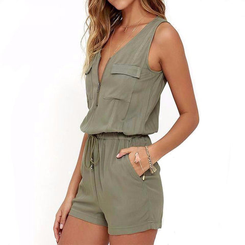 Zip Up Sleeveless Romper - Cowgirl Vibes