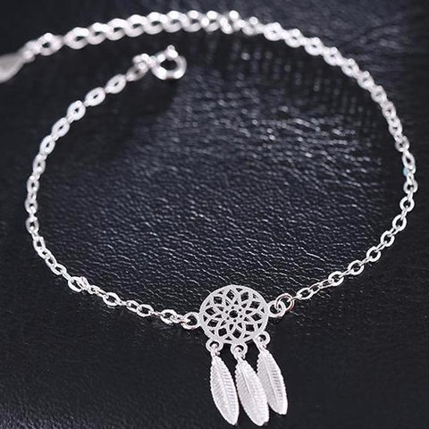 925 Sterling Silver Chain Dream Catcher Bracelet - Cowgirl Vibes