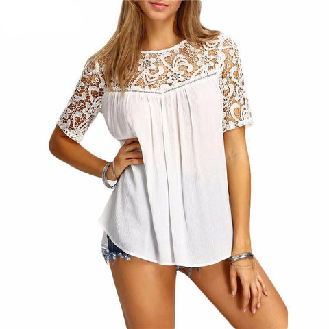 Shoulder Lace Detailed Blouse - Cowgirl Vibes
