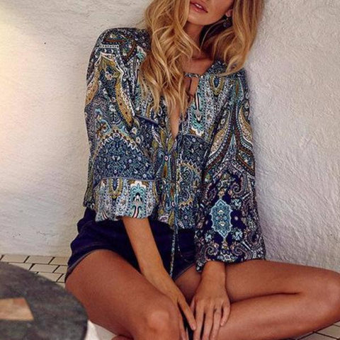 Vintage Long Sleeve Floral Paisley Print Blouse - Cowgirl Vibes