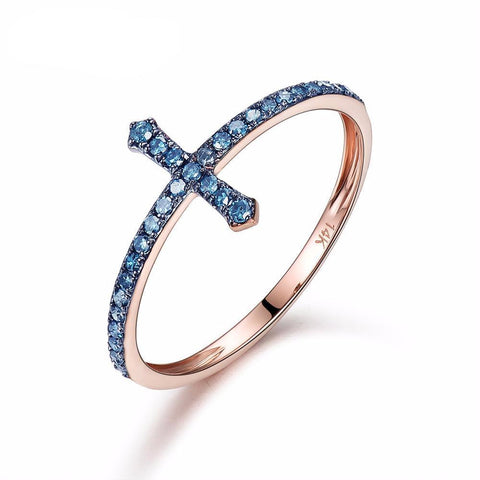14K Rose Gold & Blue Sapphire Cross Ring - Cowgirl Vibes