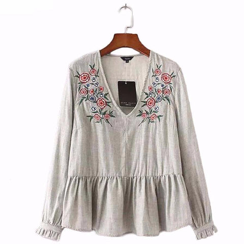 Embroidered V-Neck Long Sleeve Blouse - Cowgirl Vibes