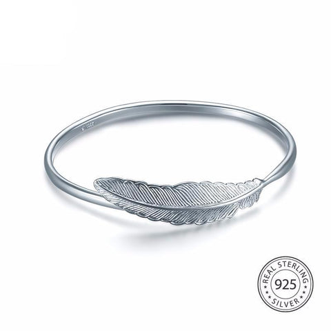 925 Sterling Silver Feather Bangle - Cowgirl Vibes