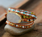 Vintage Natural Stone & Leather Bracelet - Cowgirl Vibes