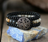 Handmade Onyx Weaving Stone Leather Wrap Bracelet - Cowgirl Vibes