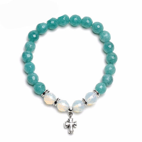 Natural Stone Bead Cross Charm Bracelets - Cowgirl Vibes