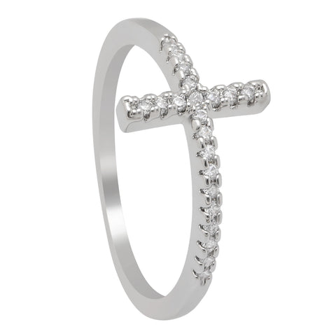 Platinum Plated CZ Cross Ring - Cowgirl Vibes