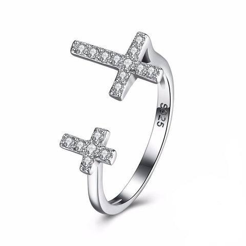 925 Sterling Silver Double Cross Ring - Cowgirl Vibes