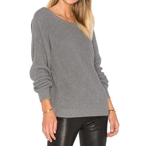 Deep Back V Loose Knitted Pullover Sweater - Cowgirl Vibes