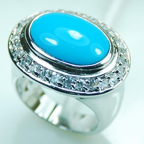 Light blue Crystal Zircon 925 Sterling Silver Ring - Cowgirl Vibes