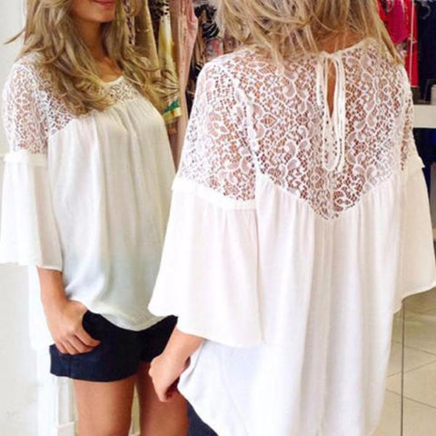 Three Quarter Flare Sleeve Loose Fit Lace Blouse - Cowgirl Vibes