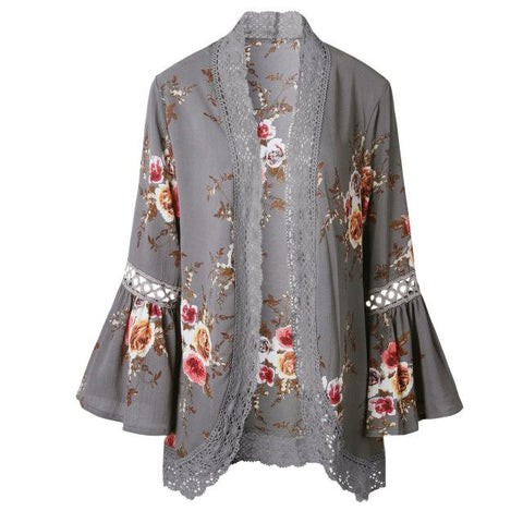 Floral Print Lace Chiffon Blouse - Cowgirl Vibes