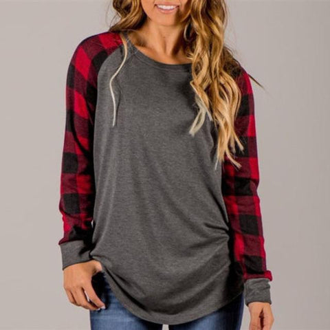 Long Sleeve Plaid Sleeve Shirt - Cowgirl Vibes