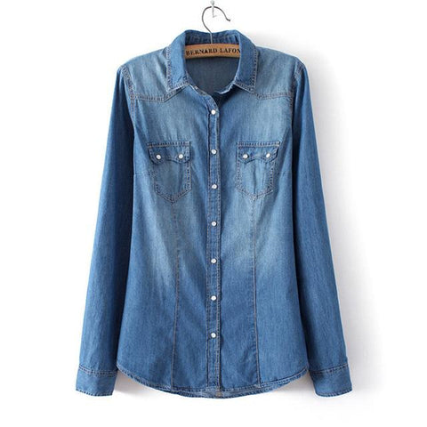 Western Button Denim Shirt - Cowgirl Vibes