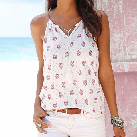 Cowgirl Sleeveless Flower Print Blouse