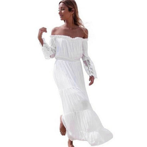 Country Girl Off Shoulder White Dress