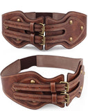 Cowhide Leather Double Retro Pin Buckle Belt - Cowgirl Vibes