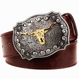 Golden Bull Western Leather Belt (Brown, Black or White) - Cowgirl Vibes