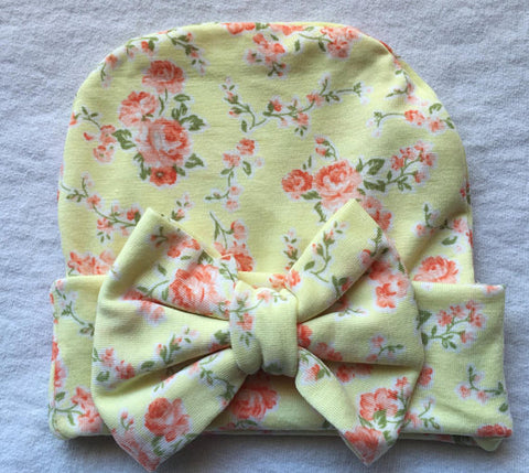 Newborn Pastel Yellow with Flowers Beanie with Bow by KC Elastic Ties 84cd7f50f43