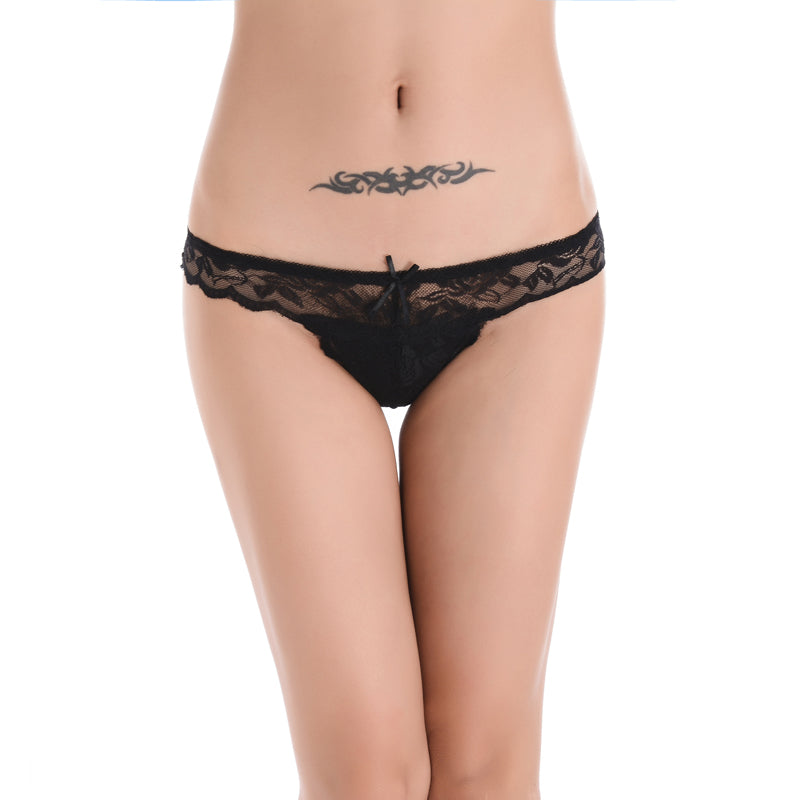 Women's Solid Color Lace Thong
