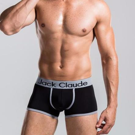 Jack Claude free Men's Boxer Solid Color Boxer Brief with Contrast Seams Black