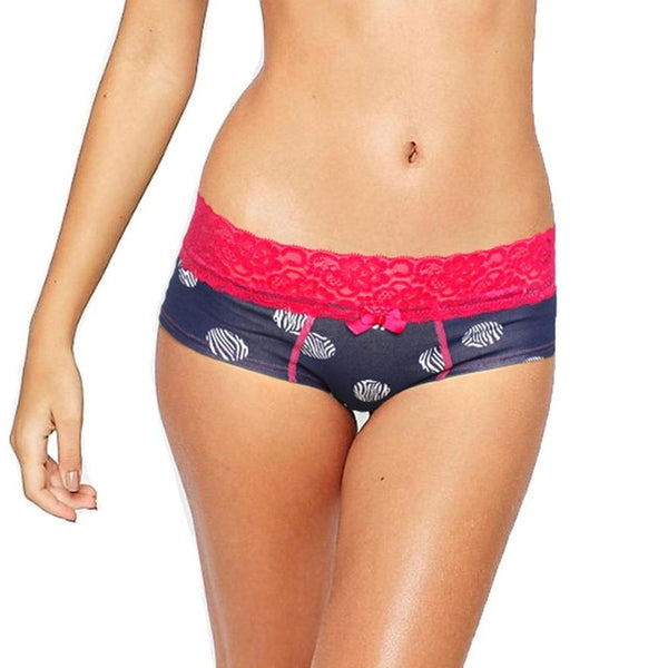 Women's Printed Boyshort with Lace Waistband - Leopard