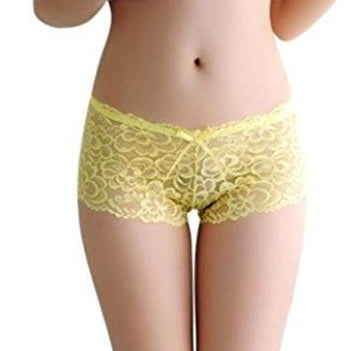 Women's Lace Boyshort - Yellow