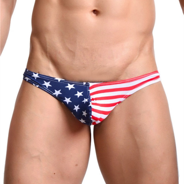 Men's Stars and Stripes Printed Flag Cotton Thong