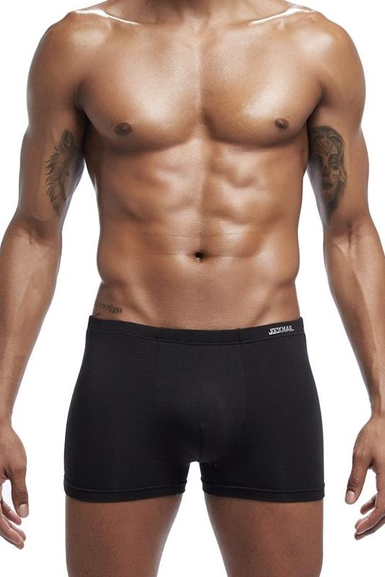 Men's Jockmail Soft Support Modal Boxer Brief Underwear - Black
