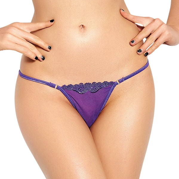 Free Women's Polyester G-String Panty with Lace Trim - Rose