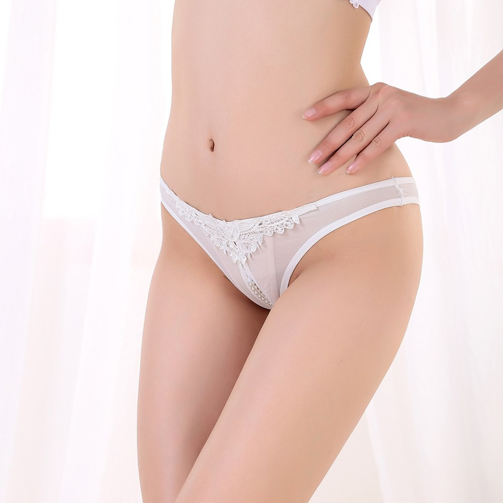 Women's Ultra Low Rise Sheer Pearl Thong Underwear - White