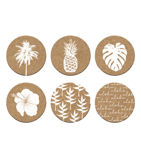 White Tropical Cork Coasters s/6