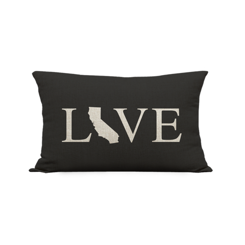 12x20in California Love Pillow, Black