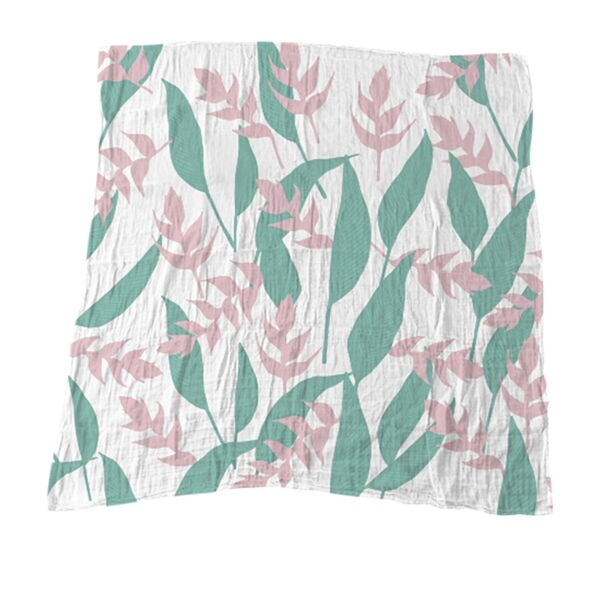 Heliconia & Leaves Muslin Blanket