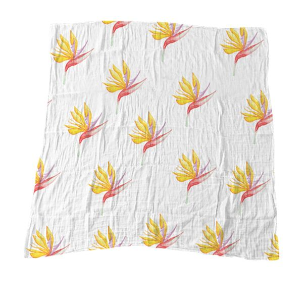 Yellow Bird of Paradise Muslin Blanket