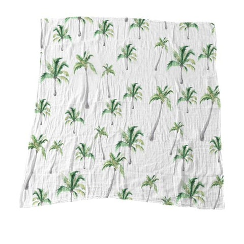Green Palm Trees Muslin Blanket