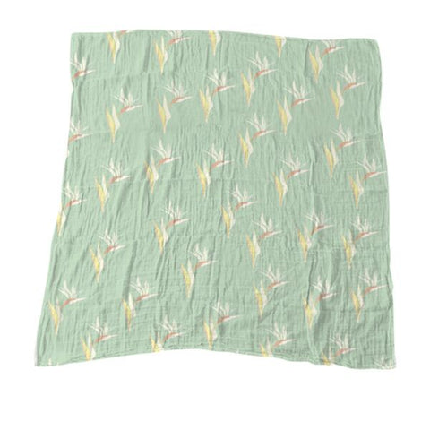 Light Green Bird of Paradise Muslin Blanket